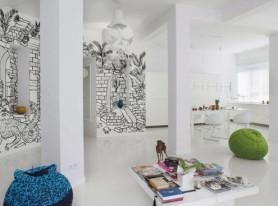 Апартаменты с графической росписью в Варшаве